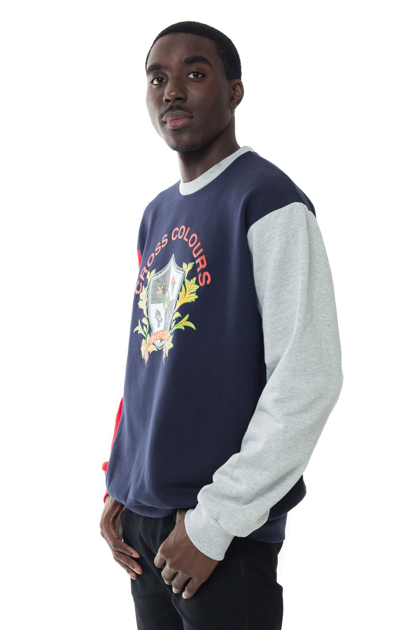 Cross_Colours_HBCU_Shield_Unisex_Crewneck__Grey_Multi