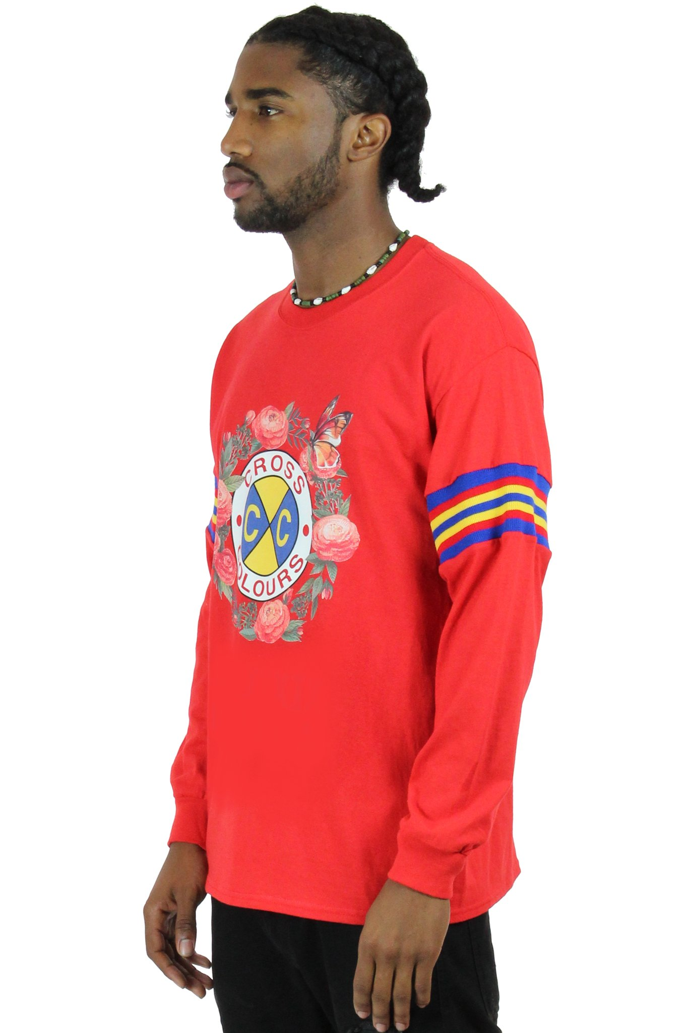 Cross_Colours_Rose_Logo_LS_TShirt_With_Stripe_Sleeves__Red